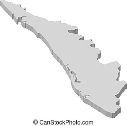 Map - Kerala (India) - 3D-Illustration - Map of Kerala, a...