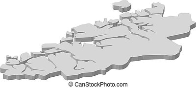 Map - More og Romsdal (Norway) - 3D-Illustration