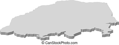 Map - Limpopo (South Africa) - 3D-Illustration - Map of...