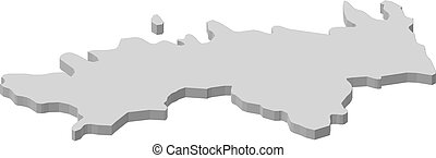 Map - Harju (Estonia) - 3D-Illustration - Map of Harju, a...