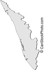 Map - Kerala (India) - Map of Kerala, a province of India.