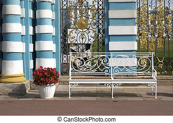 Delicate bench and flowerpot with colors - Delicate white...