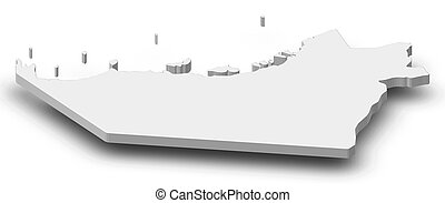 Map - Abu Dhabi (United Arab Emirates) - 3D-Illustration -...