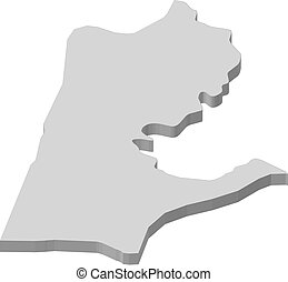 Map - Haifa (Israel) - 3D-Illustration - Map of Haifa, a...