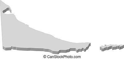 Map - Tierra del Fuego (Argentina) - 3D-Illustration - Map...