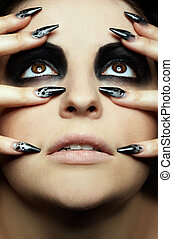 girls eye-zone bodyart - close-up portrait of girls eye-zone...