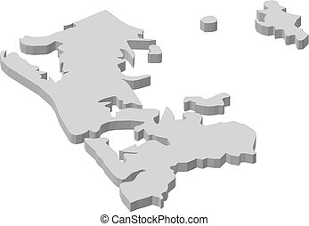 Map - Auckland (New Zealand) - 3D-Illustration - Map of...