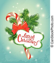 Holiday New Year greeting Card with xmas candy, frame and fir-tree branches. Hand written calligraphic text Merry Christmas. Light blue background with sparkles.