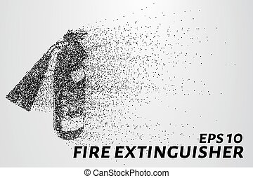 A fire extinguisher of the particles. A fire extinguisher consists of circles and points. The fire extinguisher crumble into small pieces. Vector illustration