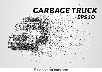 A garbage truck from parts. The garbage breaks down into...