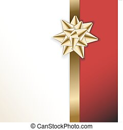 golden bow on a ribbon with white and red background -...