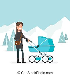 Woman in the winter for a walk with the baby in the pram. Girl with bag on his shoulder against the backdrop of a winter landscape with trees and mountains. Walk on the nature of the child. Fresh air