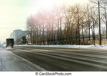 cidade, Inverno, estrada,  car