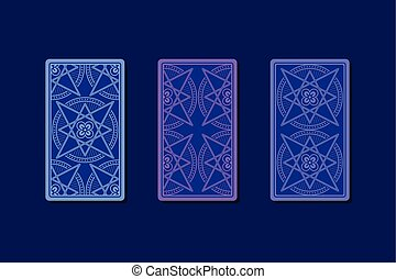 Tarot cards by reverse side. Classic designs. Vector...