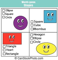 Words test educational game for children. Learning shapes