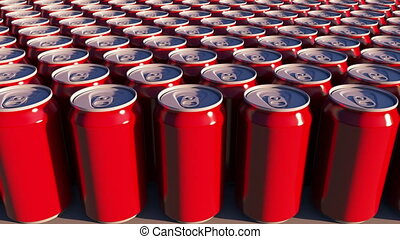 Red cans with no logo at sunset. Soft drinks or beer for...