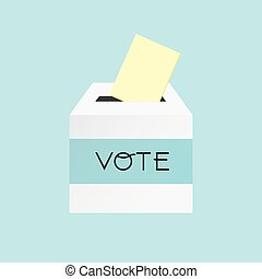 Voting concept by putting paper in the ballot box.