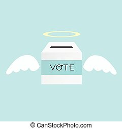 Voting concept by the ballot box angel .