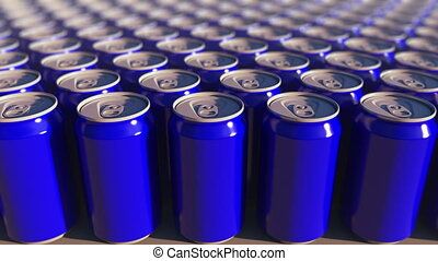 Multiple blue aluminum cans, shallow focus. Soft drinks or...