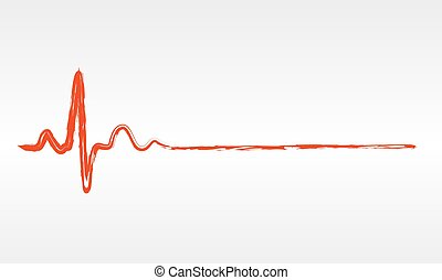Heartbeat icon - vector illustration. - Hand drawn red...