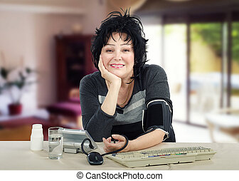 Woman loves control her blood pressure