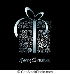 Christmas present box made from metal snowflakes vector