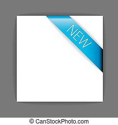 New blue corner ribbon inside white paper
