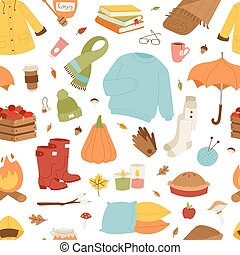 Collection of autumn items seamless pattern. Clothes related...
