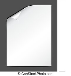 Sheet of white paper on dark background