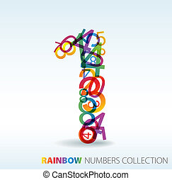 Number one made from colorful numbers - check my portfolio...