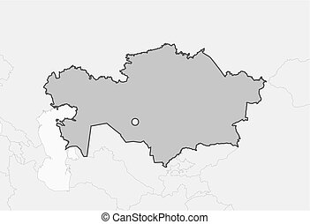 Map - Kazakhstan - Map of Kazakhstan and nearby countries,...