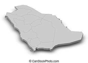 Map - Saudi Arabia - 3D-Illustration - Map of Saudi Arabia...