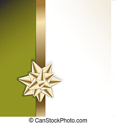 golden bow on a ribbon with green background - golden bow on...
