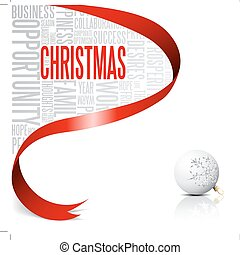 Christmas card with red ribbon and white bulb