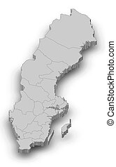 Map - Sweden - 3D-Illustration - Map of Sweden as a gray...