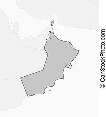 Map - Oman - Map of Oman and nearby countries, Oman is...