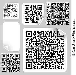 Set of labels with qr codes modern bar codes