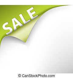 Green sale corner background - paper with curl