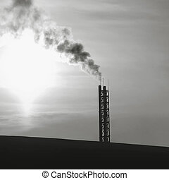 Industry and environmental problems concept - smoke from...