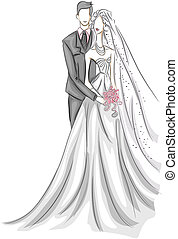 Bride and Groom Sketch with Clipping Path