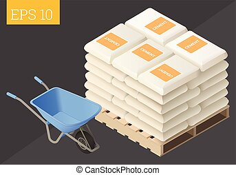 cement sack and wheelbarrow - cement sack stacked and...