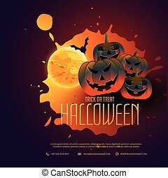happy halloween pumpkins poster design with moon