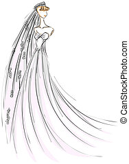 Bride Sketch with Clipping Path