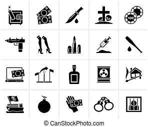 criminality activity icons - Black Mafia, Gangster and...