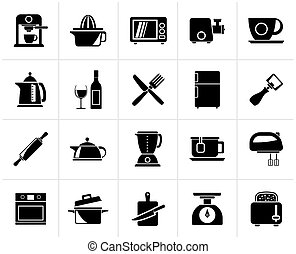 Kitchenware objects icons - Black Kitchenware objects and...