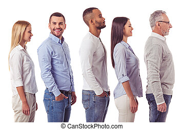 Beautiful business team - Side view of business people...