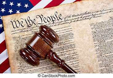 We the People. - Bill of rights, we the people with wooden...
