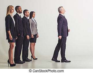 Beautiful business team - Full length portrait of beautiful...