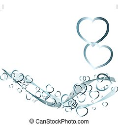 Valentines background with silver hearts on white (vector)