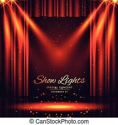 beautiful theater stage with lights focus